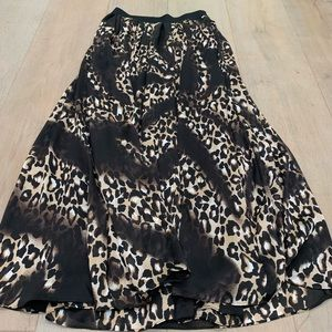 WHBM leopard print maxi skirt 4 NWT